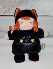 "Prestige Baby Doll Plush 8"" Trick Or Treat Halloween Cat Orange Hair Rattle"