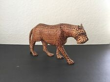 Vintage Hand Carved Wood Cheetah Sculpture Leopard Jaguar Figurine African Art