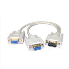 1 Male To 2 Dual Double Female PC VGA SVGA HD15 Monitor Y Splitter Adapter Cable