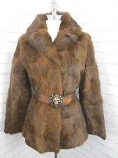 Superb Ladies 1970s Vintage Short Brindle Brown Real Retro Fur Jacket Coat 12