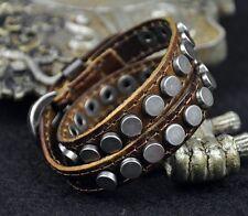 S368 Double Wrap Round Metal Studs Vintage Leather Bracelet Wristband Cuff KHAKI