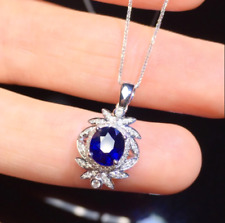 1.50Ct Oval Cut Blue Sapphire Flower Pendant Free Chain 14K White Gold Finish