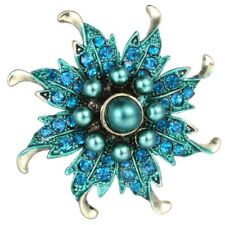 Retro Flower Copper Pearl Crystal Brooch Pin Women Costume Jewelry Birthday Gift