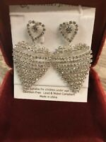 Large Rhinestone Heart Drop Earrings 1980s Style