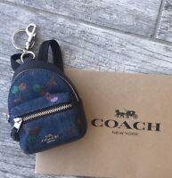 COACH Cherry Fruit Backpack Handbag Keychain Coin Case Charm Blue Denim F31550
