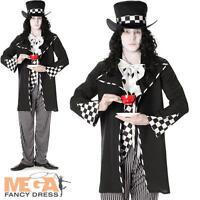 Dark Mad Hatter Mens Fancy Dress Fairytale Horror Adults Halloween Costume New