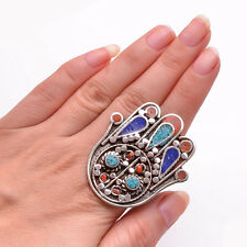 Turquoise Coral Lapis Gemstone Ring Size US 8, Tibetan Silver Jewelry TR444