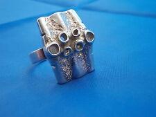 Ring Modernist 835 Silber Krater 60er/70er Design Boho Blogger verstellbar