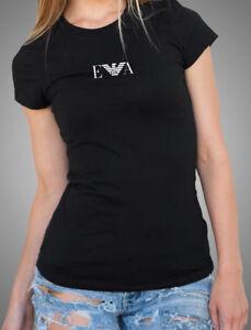 EMPORIO ARMANI E.A. Schwarz Damen T-shirt Straff sitzend -Größe: S, M