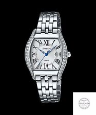 SHE-4046D-7A White Lady Watchee Casio Sheen Analog Stainless Steel Band Date New