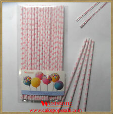 """25pcs 6"""" (15cm) Paper Sticks For Cake Pops or Lollipop Candy - Heart Red printin"""