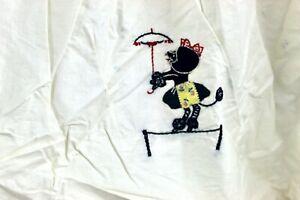 Vtg 1950s Baby Bassinet Dust Ruffle Skirt - Mid Century Cute  Animal Appliqué