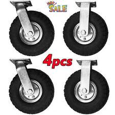 4pcs 10 2pcs Rigid Amp 2pcs Swivel 10 Pneumatic Tire Casters Heavy Duty Wheel