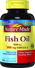 Nature Made Fish Oil 1200 mg w. Omega-3 360 mg Softgels 100 Ct