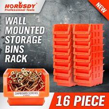 NEW 16 PC Wall Mounted Storage Bins Rack Set Solution Nuts Bolts Organizer Parts