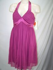 Maggy London Purple Halter V-Neck 100% Silk Prom Dress Womens Size 12 Large