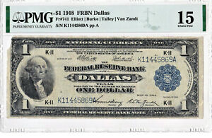1918 $1 National Currency Federal Reserve Bank Note FRBN DALLAS Texas TX ((Key))