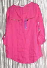 NEW **Company By Ellen Tracey**  Pink Linen, Adjustable Sleeve, Blouse, Small