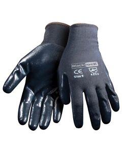 High Quality BlackRock Nitrile Safety Work Gloves Builders Grip Gardening 2 Pair