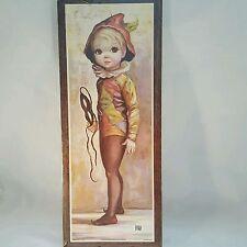 "Vintage MAIO Big Eyed Harlequin Boy Wall Plaque in Original Wrap MCM 8""x20"""