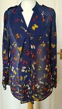 Beautiful Butterfly Print Summer Blouse OASIS UK 8 Long Sleeve