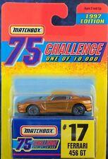 Matchbox MB 17 Ferrari 456 GT Gold 75 Challenge 1997 Mint On Card