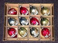 12 Vtg Stencil Scenes RARE SHAPE Glass Christmas Ornaments Shiny Brite w/ BOX