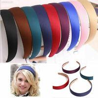 Lady Girls Wide Plastic Headband Hair Band Accessory Satin Headwear Decor