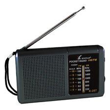 Radio Portable FM/AM de Poche Haut-Parleur Prise pour Casque K-257 // Noir
