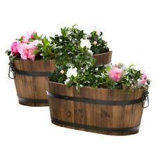 Set of 2 Oval Barrel Planter Rustic Plant Pot Bed Garden Home Decor Stand Wooden