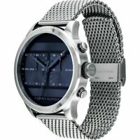 New Tommy Hilfiger Men's Watch 1791596 Blue Dual Time Stainless Steel Band Watch