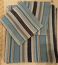 The Land Of Nod Crate & Barrel Kids Striped Blue Twin Duvet Cover & Pillow Case