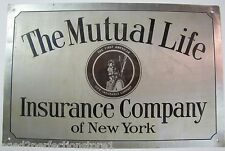 Antique The Mutual Life Insurance Company of New York Sign 1st American Life Ins