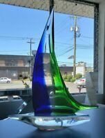 Italian MURANO Glass Type Ship Decor Boat Tabletop