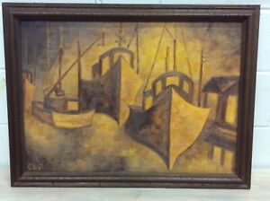 MID CENTURY MODERNISM NAUTICAL SEASCAPE ABSTRACT SHIPS PAINTING SIGNED E.L.R.