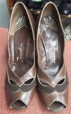 Tweedies 40s Brown Leather & Suede 3in Pump Heels w/PeekAboo Toe sz 8 1/2 N