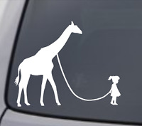 GIRL WALKING A GIRAFFE Vinyl Decal Sticker Car Window Wall Bumper Funny Animal