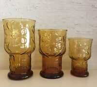 Set of 12 vintage Libbey Country Garden daisy tumblers 4 each small medium large