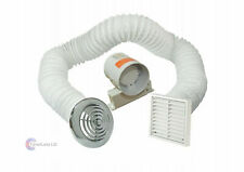 "4"" Inline Extractor Fan Timer Full Kit Ventilation for Bathroom Shower Chrome"