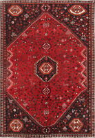 ANTIQUE Geometric TRIBAL Oriental Hand-Knotted WOOL 7x10 RED Area Rug