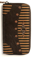 Banned Apparel Intrepid Steampunk Brown Stripe Victorian Keyhole & Key Wallet