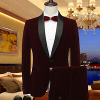 Men's Burgundy Velvet Jacket Pant Tuxedo Formal Wedding Groom Suits Tailored Fit