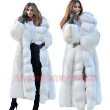 Runway Winter Womens Warm fluffy Faux Fur Hooded Long Coat Oaver Coat Sz