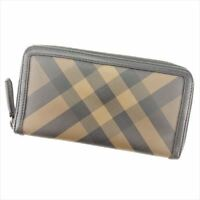 Burberry Wallet Purse Long Wallet Brown Black PVC Leather Woman unisex E1250