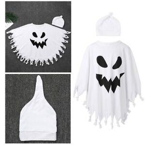 Child Ghost Costume Boys Girls Halloween Fancy Dress Kids Tassel Cape Set Outfit