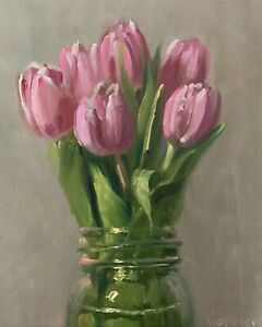 """Tulips in a Jar"" NOAH VERRIER Still life oil painting, Signed art print"
