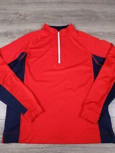 FootJoy Mens Size M 1/4 Zip Pullover Sweatshirt Golf Red Navy