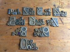 More details for vintage letterpress brass type numbers (full set: 1-0. 85 pieces in total).