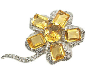 1.55ct Natural Round Diamond Yellow Topaz 14K Solid White Gold Brooch Pin