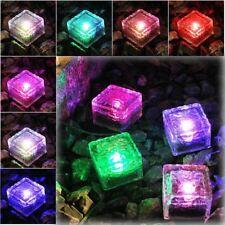6pcs Solar Powered Waterproof LED Glass Brick Light Ice Cube Path Garden Patio